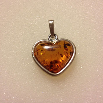 AMBER STERLING Heart PENDANT Enhancer Silver Charm Slide 925 Baltic Russian Polish Vintage Jewelry Bridal Necklace Genuine Authentic Gift