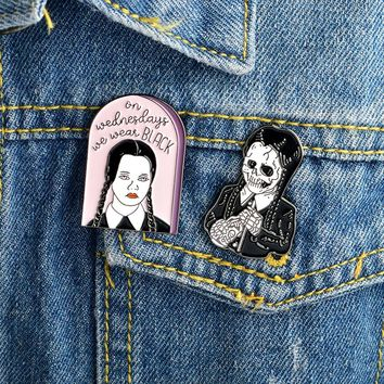 2pcs/set Addams Family Inspired Wednesday Addams Brooch and Pin Denim jacket Shirt Collar Lapel Pins Buckle Badge Punk Jewelry