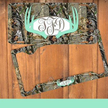 Mint Antlers Camo Monogram License Plate Frame Holder Metal Wall Sign Tags Personalized Custom Vanity Plate