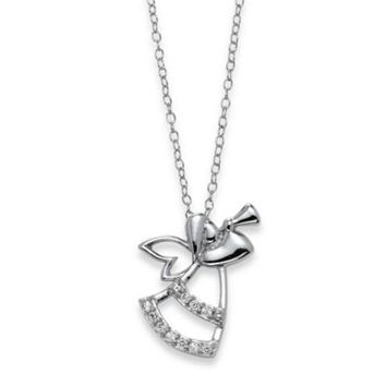 Sterling Silver .10 cttw Diamond 18-Inch Chain Angel with Trumpet Pendant Necklace