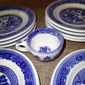 Blue Willow Buffalo China Restaurant Ware, set of 9 plates and one coffee or tea cup. Vintage Restaurant Ware