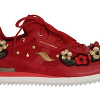 Dolce & Gabbana Red Leather Roses Crystal Sneakers