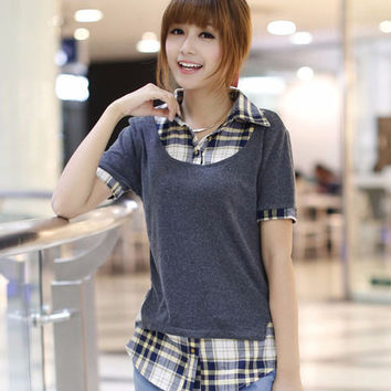 Plaid Short Sleeve Casual Shirt