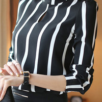 Black and White Striped Funnel Collar Chiffon Long Sleeve Blouse