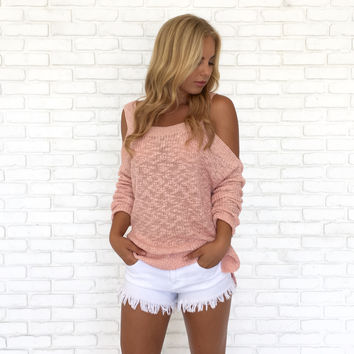 Pink Lady Open Shoulder Knit Sweater
