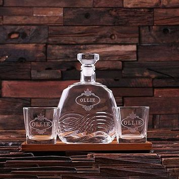 Personalized Wood Tray with Decanter and Whiskey Rocks Glasses Groomsmen Gift, Dad Holiday Gift