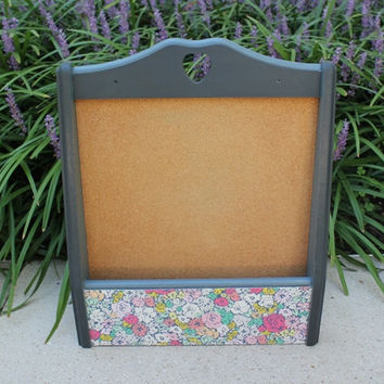 Wall mounted cork board, painted blue and graphite with floral pattern mail holder
