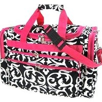 World Traveler 19 Inch Duffle Bag, Pink Trim Damask, One Size