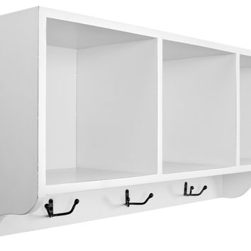 Alice Wall Shelf With Storage Compartments  Shady White
