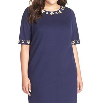 Plus Size Women's Eliza J Embellished Ponte Shift Dress,
