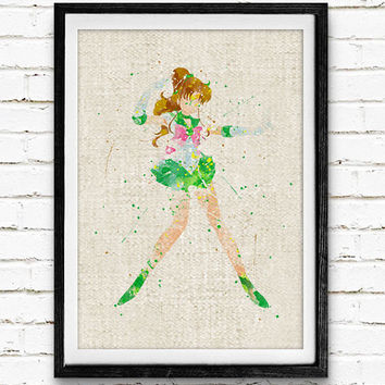 Sailor Jupiter Watercolor Art Print, Sailor Moon Room Wall Poster, Home Decor, Not Framed, Buy 2 Get 1 Free!