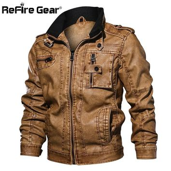 Trendy ReFire Gear Men's PU Leather Jacket Winter Military Pilot Bomber Jackets Autumn Fashion Outerwear Motorcycle Biker Leather Coat AT_94_13
