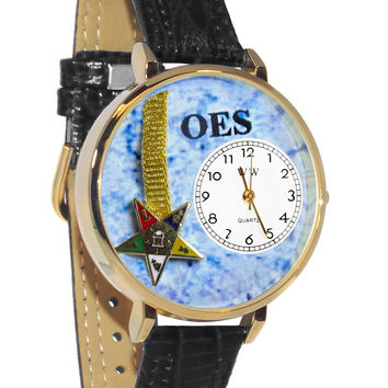 Whimsical Watches Designed Painted Order of the Eastern Star Navy Blue Leather And Silvertone Watch