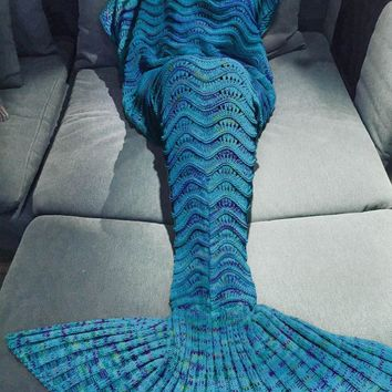 blue rainbow scale knitted mermaid tail blanket sofa bedding home gift  number 1
