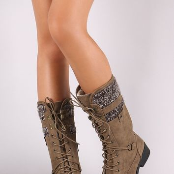 Warm Shearling Cuff Combat Lace Up Boots