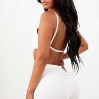 Sorella Ribbed String Back Top - White