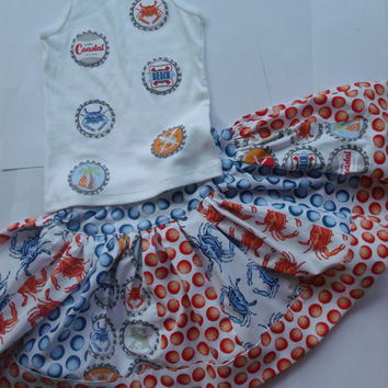 Girls Crab Beach Summer Skirt Set Michael Miller Crab Walk Fabric Michael Miller Going Coastal Fabric Toddler Carb Skirt Set