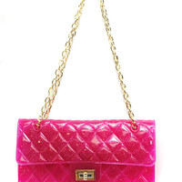 Hot Pink Jelly Quilted Rubber Purse With Adjustable Gold Chain Strap   Shoulder Bag Or Crossbody (Small/Indie Brands)