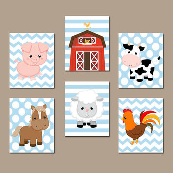 FARM Animals Wall Art Canvas or Prints Country Baby Boy Nursery Wall Art Cow Pig Barn Rooster Sheep Horse Western Boy Bedroom Decor Set of 6