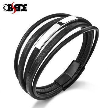 OBSEDE Fashion Genuine Braided Leather Bracelet for Men Male Black/Brown Stainless Steel Magnetic Clasp Best Gifts Punk Cool