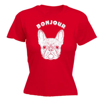 123t USA Women's Bonjour Frenchie Funny T-Shirt