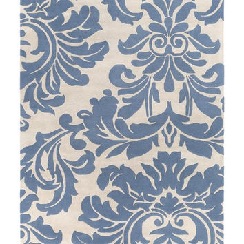 Belle Flourish Slate Blue Area Rug