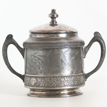 Antique Asian Motif Silver Plate Trophy, 1800s Winsted Chinoiserie Loving Cup, Sugar Bowl, Silverplate Vase, Worn and Aged