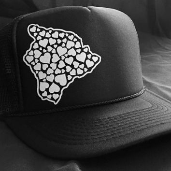 "50th State ""Hawaii Heart"" Black Snapback Hat"