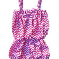 Baby Toddler Girls Bright Pink Chevron Romper with Bow