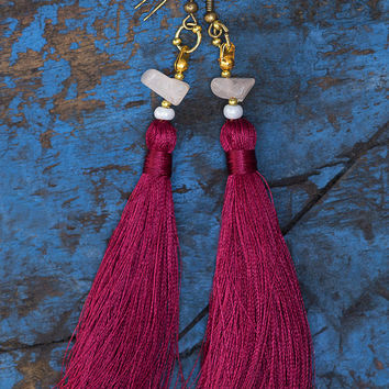 Tassel Earrings Tassel Beaded Earrings Hippie Boho Earrings Boho Chic Jewelry Boho Burgundy Tassel Long Earrings