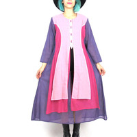 Vintage Color Block Long Sleeve Dress Ethnic Dress Medieval Princess Pink Purple Cotton Festival Tunic Dress Folk Layered Dress (M/L)