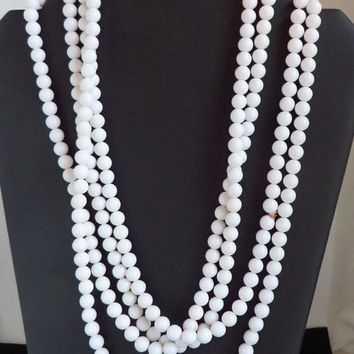White Bead Flapper Necklace, Vintage Long Plastic Beaded Necklace