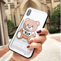 MOSCHINO New Popular Lovely Bear Print Transparent Glass Soft iPhone Phone Cover Case For iphone 6 6s 6plus 6s-plus 7 7plus iPhone 8 8 Plus iPhone X White I13559-1