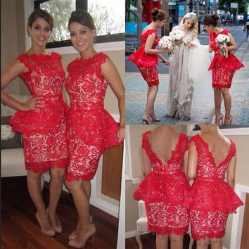Elegant Red Lace Short Bridesmaid Dresses 2017 Bow Peplum Lace Satin Bridesmaid Dresses Vestidos de Fiesta Party Dresses Cheap