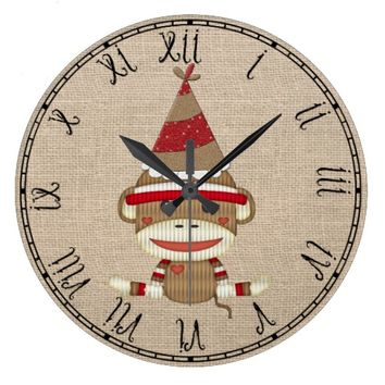 Adorable Sock Monkey Custom Clock