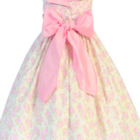 Pink Floral Print Cotton Spring Dress with Pink Poly Shantung Sash & Trim (Baby 3 months - Girls Size 10)