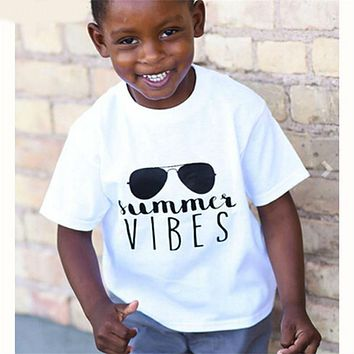 Children's T Shirt Boys Girls T-shirt Baby Clothing Little Boy Shirt Cotton Tees Cartoon Glass Clothes