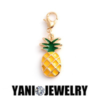 20pcs/lot Free shipping Alloy Metal Enamel Pineapple Charms for Living Memory Locket Pendant for Jewelry Making