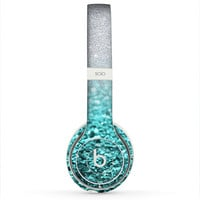 The Aqua Blue & Silver Glimmer Fade Skin for the Beats by Dre Headphones (All Versions Available)