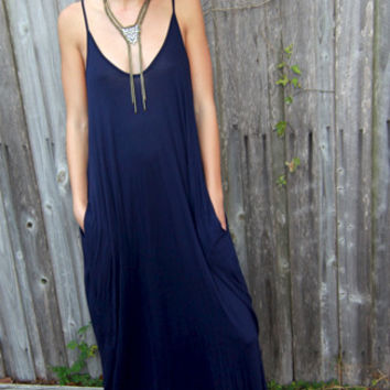 Harem Pocket Maxi Dress in Navy