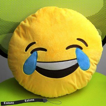 HeroNeo® Soft Emoji Smiley Emoticon Yellow Round Cushion Pillow Stuffed Plush Toy Doll (Laugh to tears)
