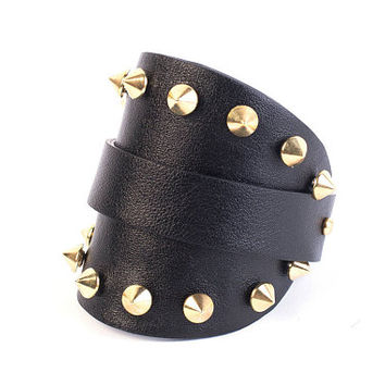 Rustic cuff bracelet, Studded bracelet, Black leather cuff bracelet, Punk cuff bracelet, Leather bracelet with spikes, Wide leather cuff