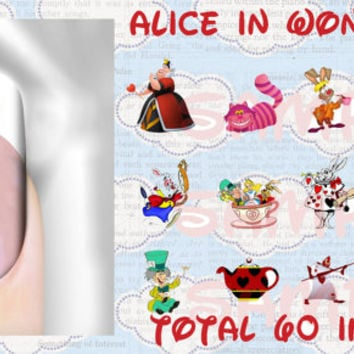 Alice In Wonderland No. 3 60 images Waterslide or Peel & Apply Nail Art Decals Nail Decal Transfer Image