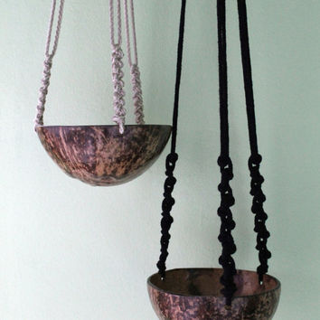 Black Macrame Plant Hanger. Modern Plant Holder. Cotton Rope Hanging Planter
