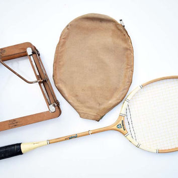 Vintage Grays Cambridge Premier Blue Badminton Racket with Case and Dunlop Made in England Wooden Squash Badminton Dualpress Frame