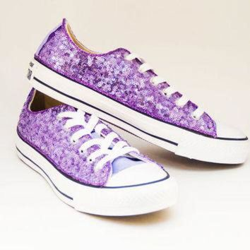 CREYONB Sequin Lavender Purple Converse Low Top Canvas Sneaker S dba3c4a76e78