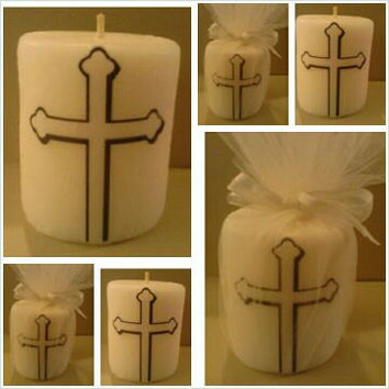 Christening, Baptism, Religious gift or candle favors, centerpiece, Personalize with names and date,  Christian