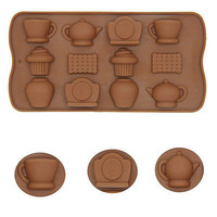 1X Silicone Mold Teapot Cup Mould Clock Bake Tools For Chocolate Cake Biscuit LS