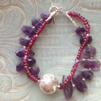 Amethyst and garnet two strand bracelet with Hill Tribe silver lotus bead Sundance style OOAK beaded bracelet