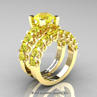 Modern Vintage 14K Yellow Gold 3.0 Ct Yellow Topaz Designer Wedding Ring Bridal Set R142S-14KYGYT